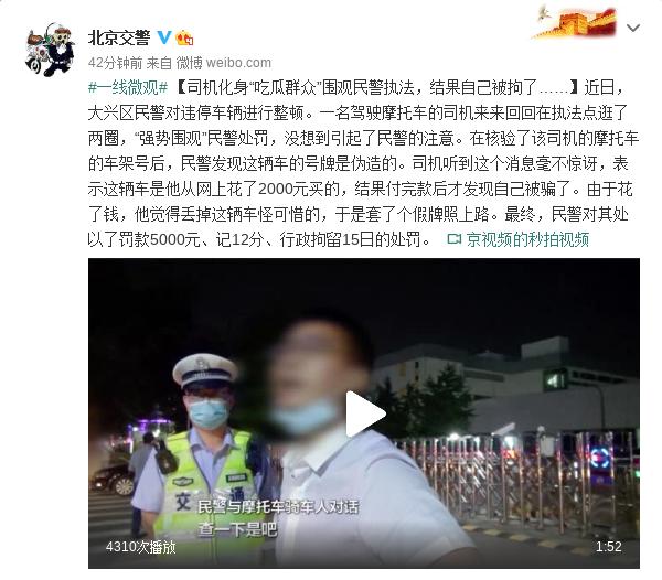 """司机化身""""吃瓜群众""""围观民警执法 结果自己被拘了"""