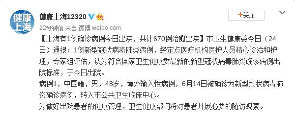 上海有1例确诊病例今日出院 共计670例治愈出院图片