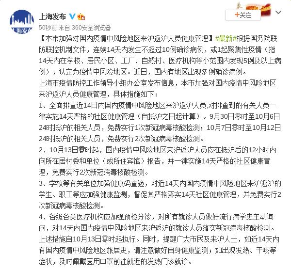 上海加强对国内疫情中风险地区来沪返沪人员健康管理图片