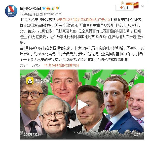 令人不安的里程碑:美国12大富豪总财富超万亿美元