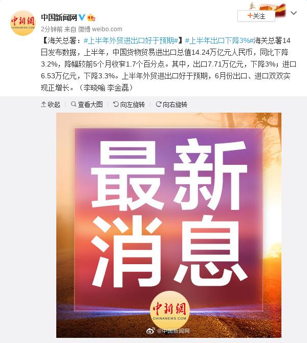 【杏悦】海关杏悦总署上半年外贸进出口图片