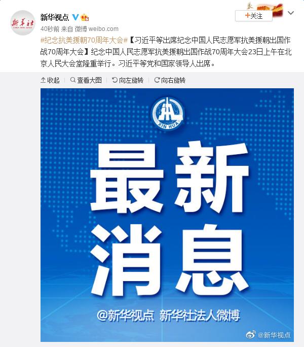 习近平等出席纪念中国人民志愿军抗美援朝出国作战70周年大会图片