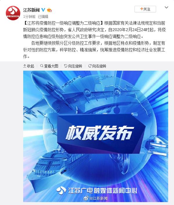「蓝冠」江苏将疫情防控一级响应调整为二级响蓝冠应图片