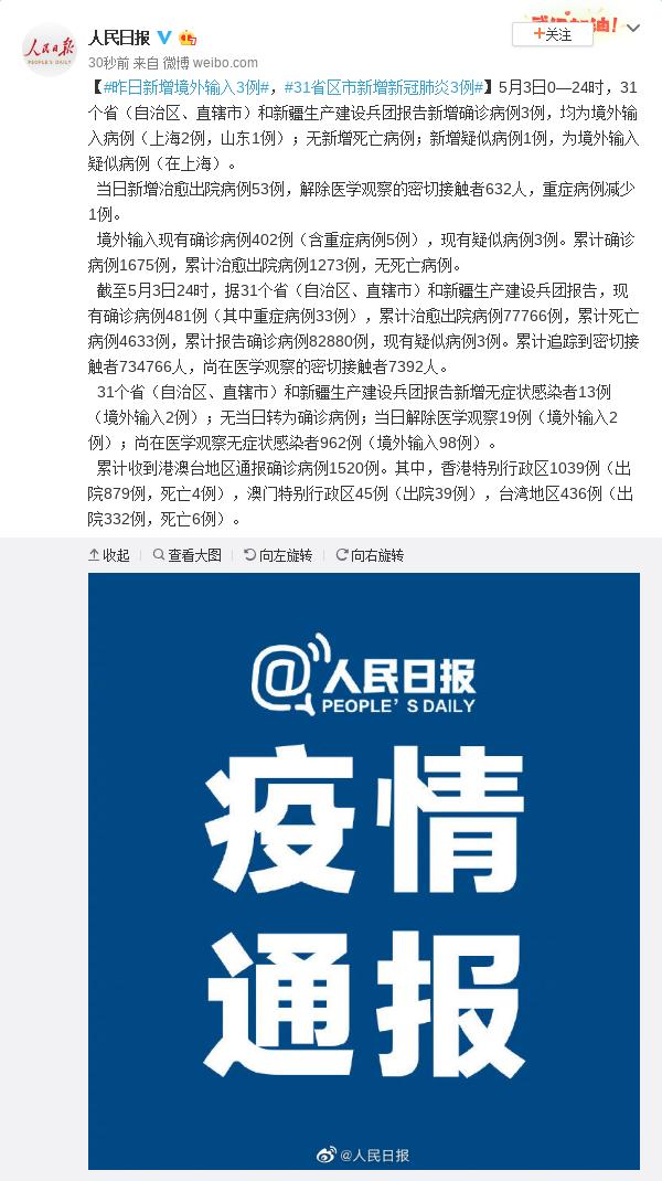 天富:增境外输入3例31省区市新增新天富图片