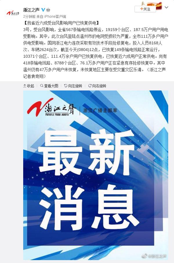 「亿兴首页」江亿兴首页省近六成受台风影响用户已恢图片