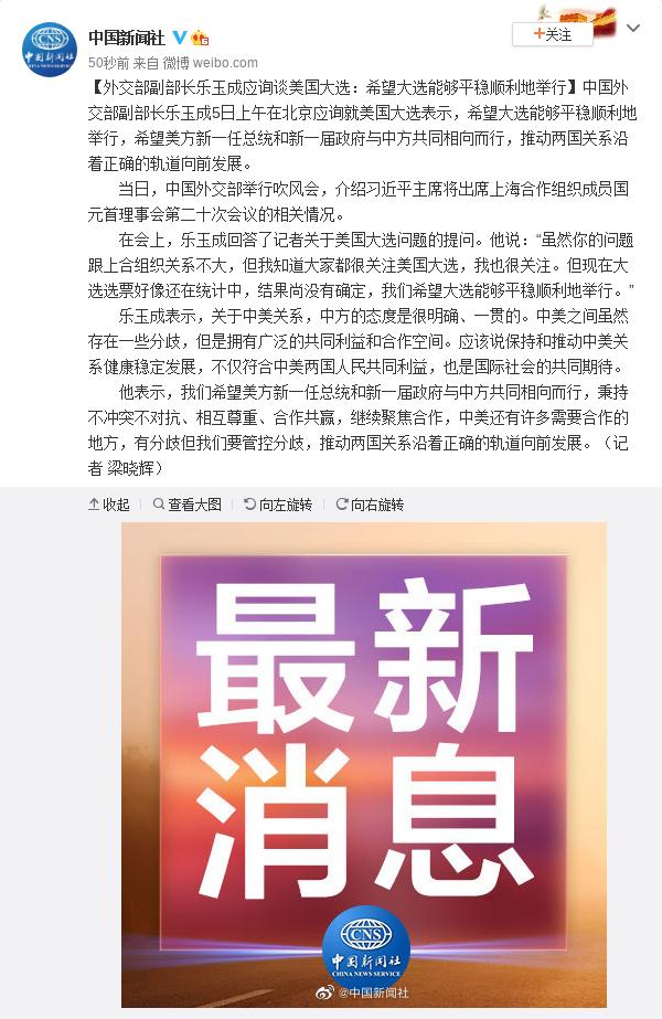 外交部副部长乐玉成应询谈美国大选:希望大选能够平稳顺利地举行图片