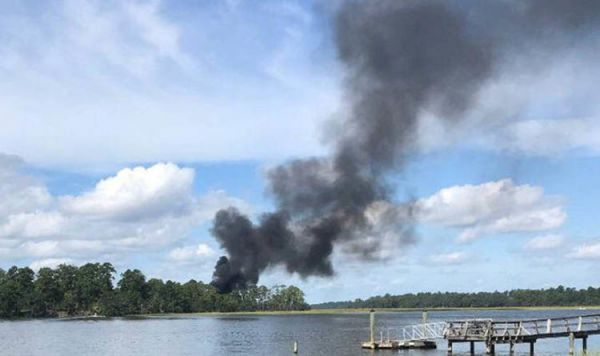 資料圖片:美媒公佈的美軍首架F-35B隱身戰機墜毀照片。(圖片來源於網絡)