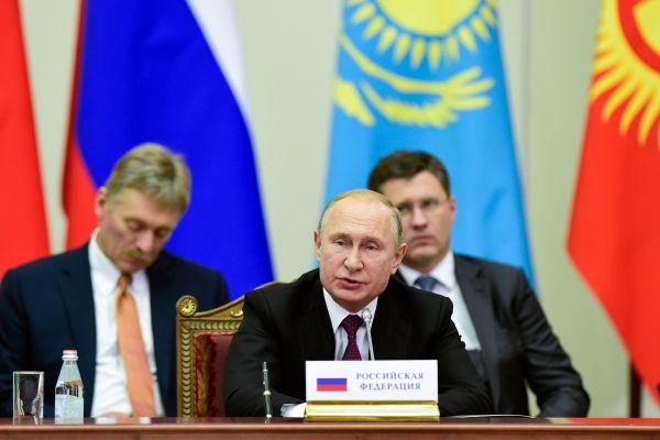 資料圖片:2018年12月6日,歐亞經濟聯盟最高權力機構歐亞經濟委員會最高理事會會議在俄羅斯聖彼得堡舉行,俄羅斯總統普京在會議上講話。(新華社/法新)