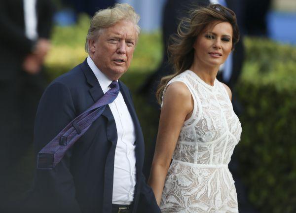 美國總統川普與妻子梅拉尼婭(新華社)