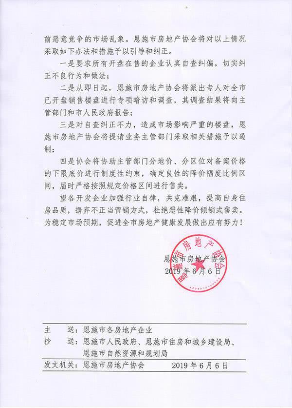 网传的恩施市房地产协会文件截图