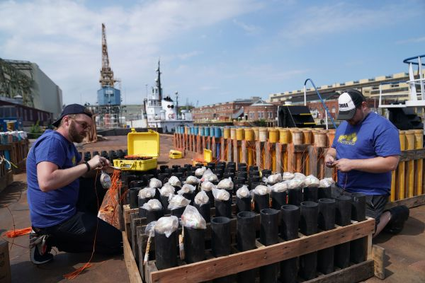 5月25日,工作人员在美国宾夕法尼亚州费城一处码头安装产自中国湖南浏阳的烟花,为当晚美国阵亡将士纪念日的烟花表演做准备。(刘杰 摄)