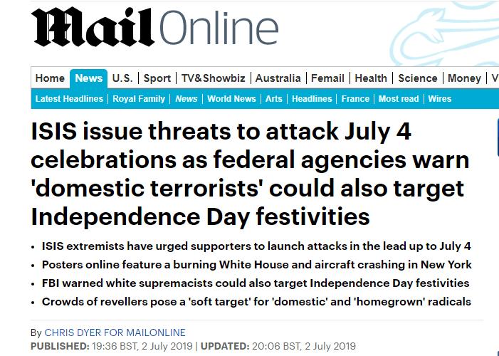 """美国联邦调查局紧急发预警:""""伊斯兰国""""可能在""""独立日""""发动袭击"""