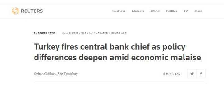 不满维持高利率 土耳其总统埃尔多安开除央行行长