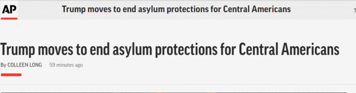 美媒:特朗普政府将终止对多数中美洲移民庇护保护