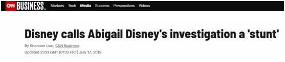 """(CNN 17日题为""""迪士尼称阿比盖尔?迪士尼的调查是'噱头'""""的报道)"""