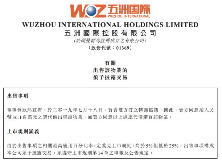 五洲国际:3610万出售杭州物业 亏损1495万元