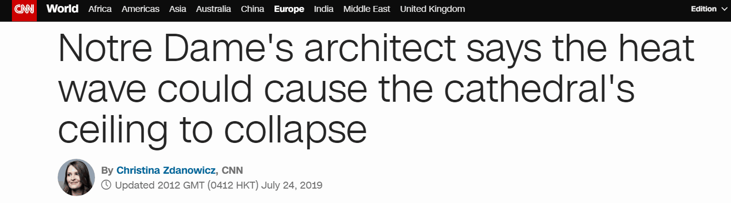 专家警告:法国高温恐致巴黎圣母院拱顶坍塌