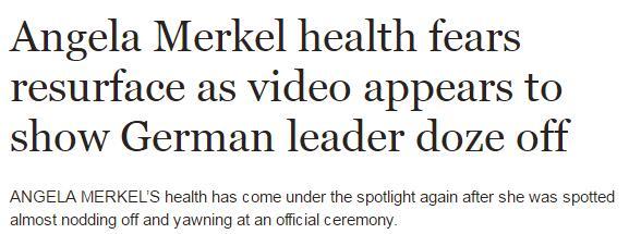 默克尔参加活动昏昏欲睡 健康状况再引担忧|默克尔