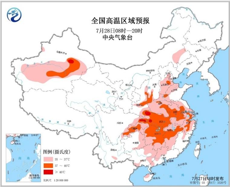 高温橙色预警 全国10省最高气温达37