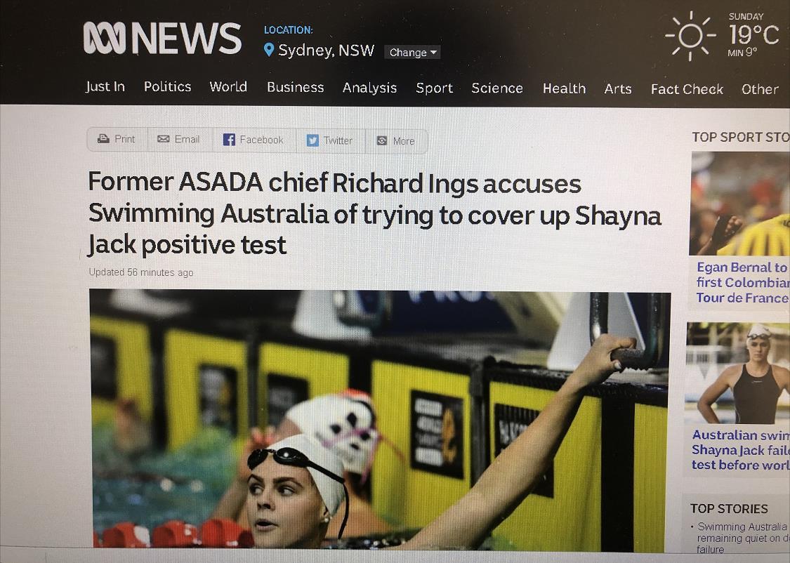 <b>澳选手因兴奋剂退赛 媒体指责澳泳协试图掩盖真相|游泳协会|游泳选手</b>