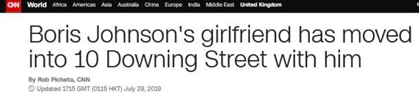 外媒:约翰逊带未婚女友同居唐宁街 英首相第一人|英国首相|首相
