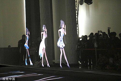 虛擬偶像洛天依舉辦首場全息投影演唱會。(視覺中國)