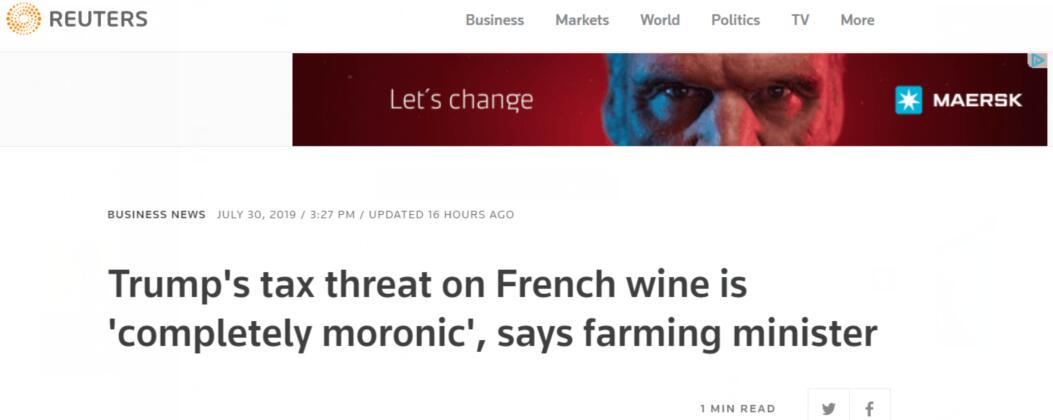 特朗普要拿法国葡萄酒开刀?法农业部长:荒谬,愚蠢
