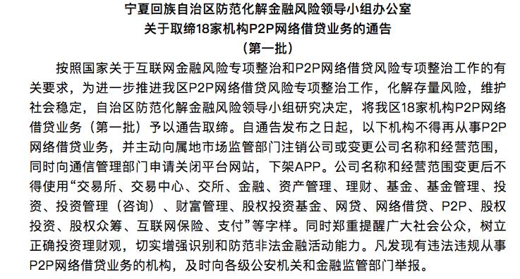 宁夏取缔18家机构P2P业务 多家平台股东系老赖