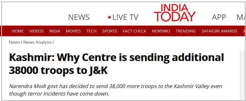 印度向克什米尔增派3.8万名士兵|雷迪|巴基斯坦
