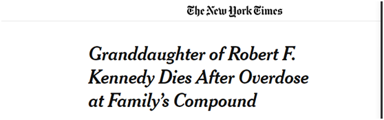 <b>美前总统肯尼迪22岁侄外孙女被发现服药过量死亡|服药过量|肯尼迪</b>