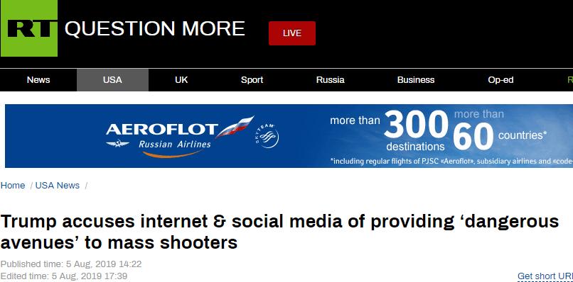 特朗普:互联网和社交媒体为枪手提供了危险通道|特朗普|社交媒体