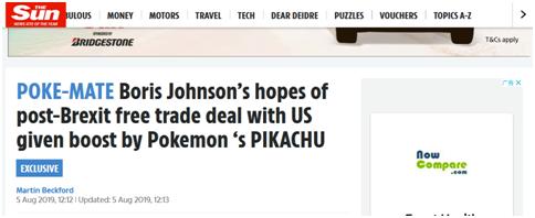 """英首相希望脱欧后与美达成贸易协定 皮卡丘""""助力"""""""