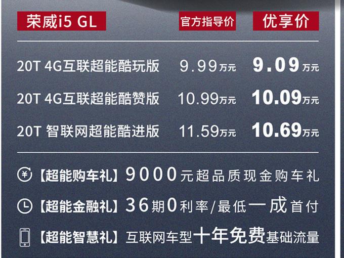 荣威i5 GL超能系列上市 售9.99-11.59万