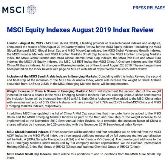 MSCI千亿级别扩容公布  15只MSCI基金受益(附名单)