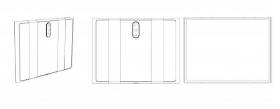 小米的可折叠手机设计专利采用了后置三摄方案
