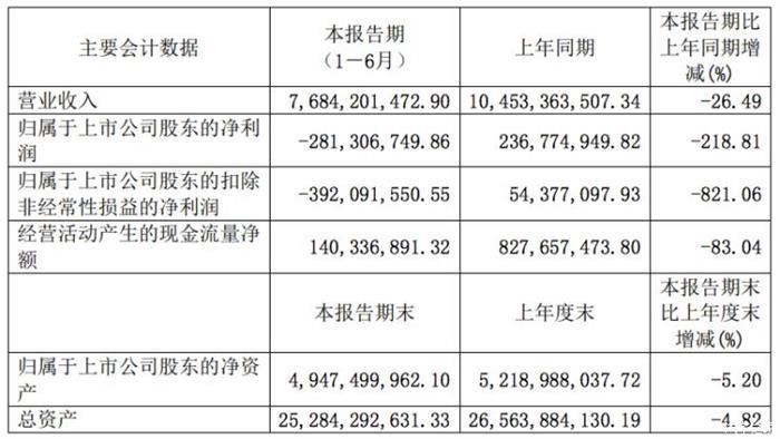 小康股份上半年净利润同比下降218.81%