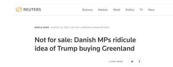 特朗普想买下格陵兰岛 丹麦回应:开玩笑吧?
