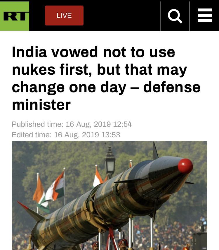 印防长放话:印巴紧张 印或改变不首先用核武政策