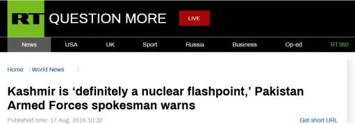 巴铁军方对印严厉警告:克什米尔问题或引发核冲突