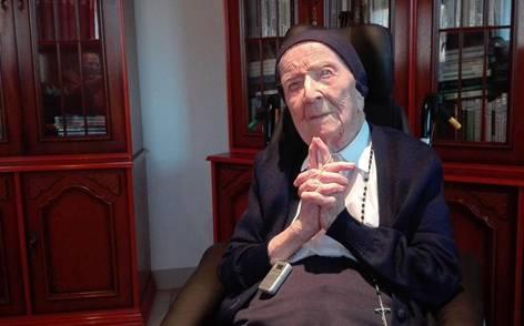 115岁法国修女成欧洲长寿冠军: