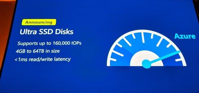 微软推出Azure Ultra Disk云存储服务