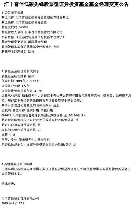 汇丰晋信两股基分别增聘陆彬、许廷全为基金经理