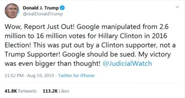 """特朗普批谷歌指责其""""操纵""""2016美国大选:应该被起诉!"""