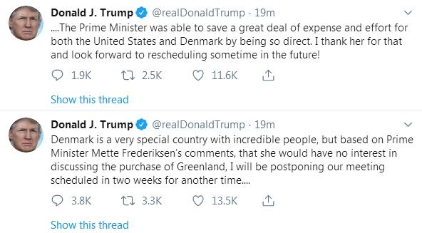 """想买格陵兰被拒 特朗普""""喊话""""丹"""