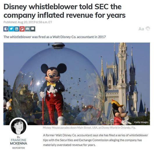 迪士尼被指财务造假,前员工称虚报收入数十亿美元