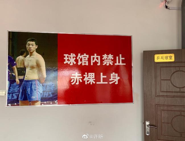 奥运冠军赤裸上身成反面教材 网友为其在线穿衣|中国|许昕