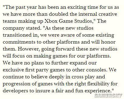 微软将强化独占阵容 不打算让更多第一方独占游戏登陆其他主机