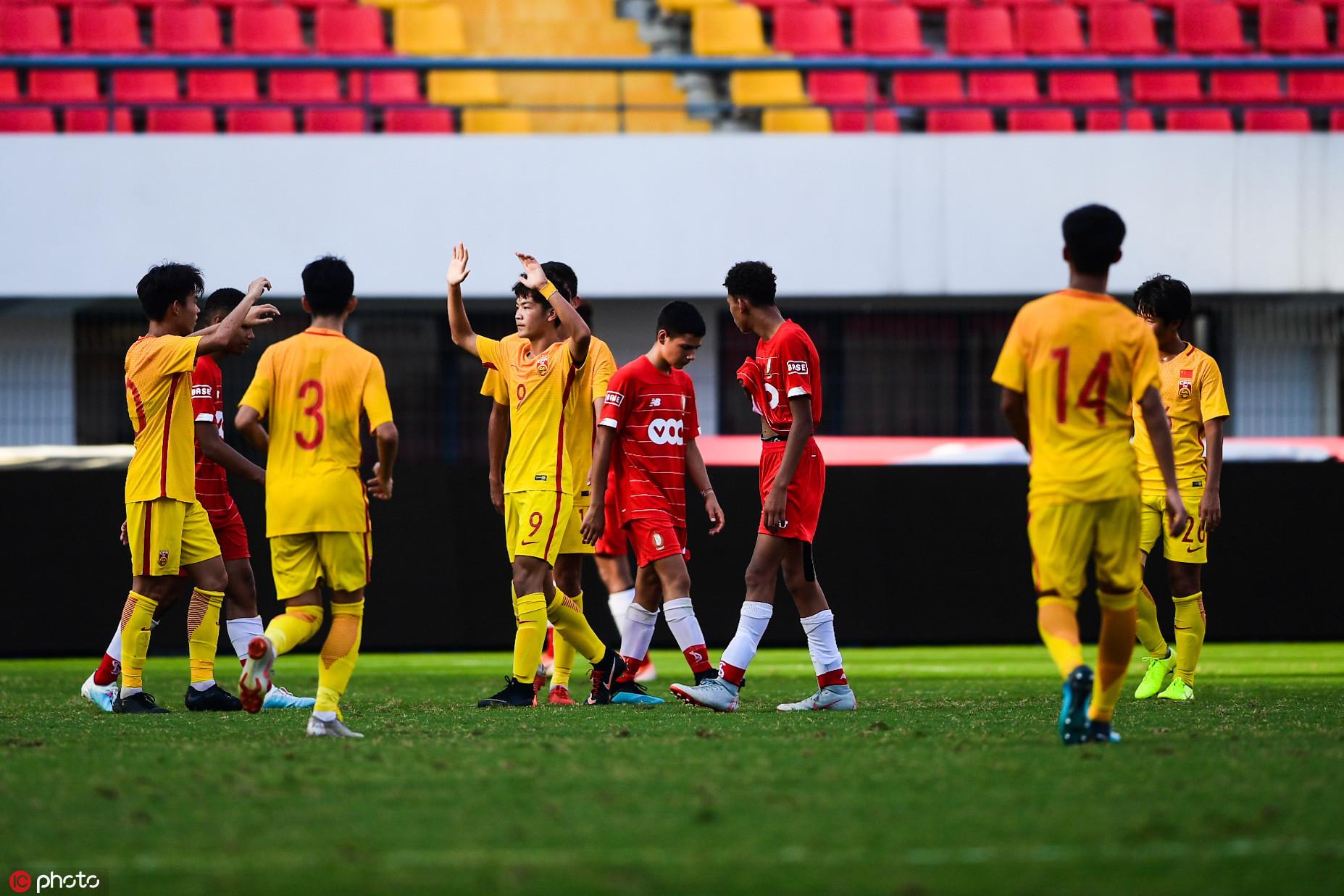 金山杯:中国U15队5-1标准列日,三战全胜出线