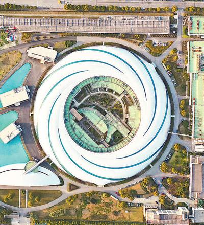 """航拍上海巨型""""鹦鹉螺""""——上海光源。群众视觉"""