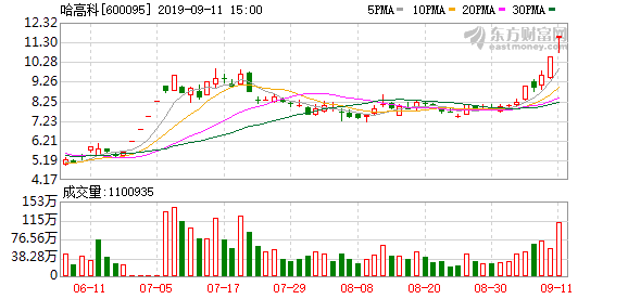 哈高科(600095)龙虎榜数据(09-11)